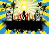 Party Flyer Blue Beach Sky — Stock Vector