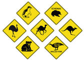 Australians Road Signs — Stock Vector
