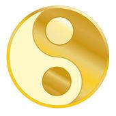 Golden Balance Yin Yang — Stock Vector