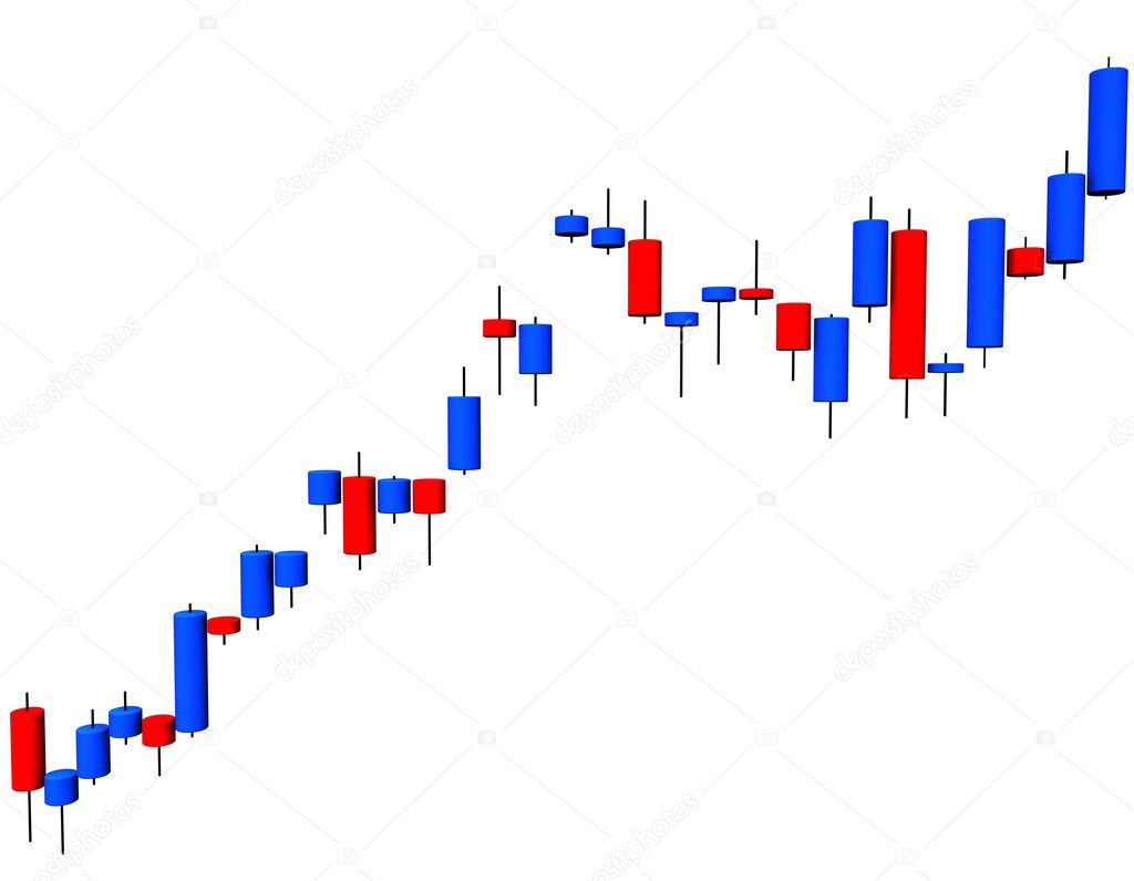 3d illustration looks a candlestick chart on the white background. — Stock Photo #1813913