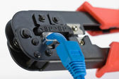 Crimping tool with RJ45 jack — Stock Photo