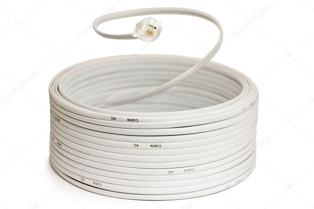 Coil of telephone cord with RJ11 plug — Stock Photo #1904107