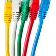 Royalty-Free Stock Photo: Five multi-colored patch cord