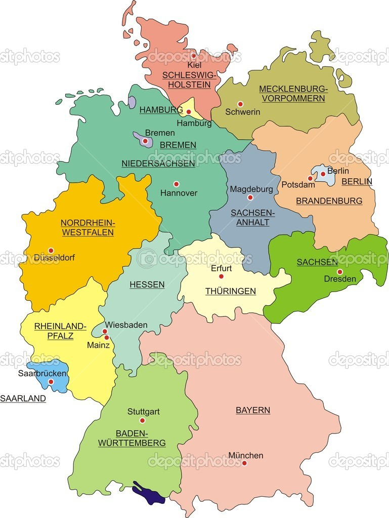 Map of Germany with national boundaries and national capitals  Stock Vector #1521469