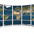 Card earth on screens of monitors — Stock Photo #1524282