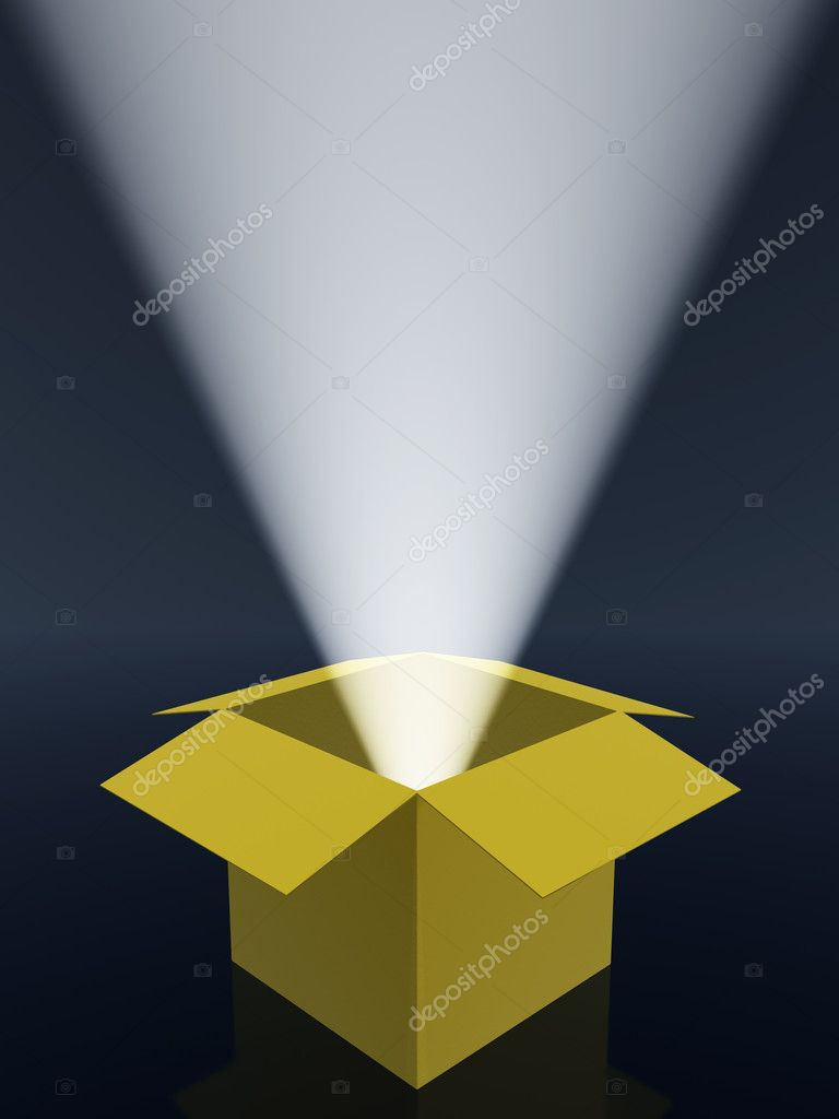 Boxes and rays of light. The open paper box and volumetric light  Stock Photo #1524158