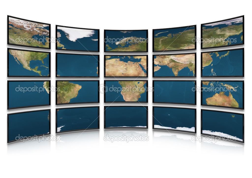 Card earth on screens of monitors. Compound system of set of screens  Stock Photo #1524282