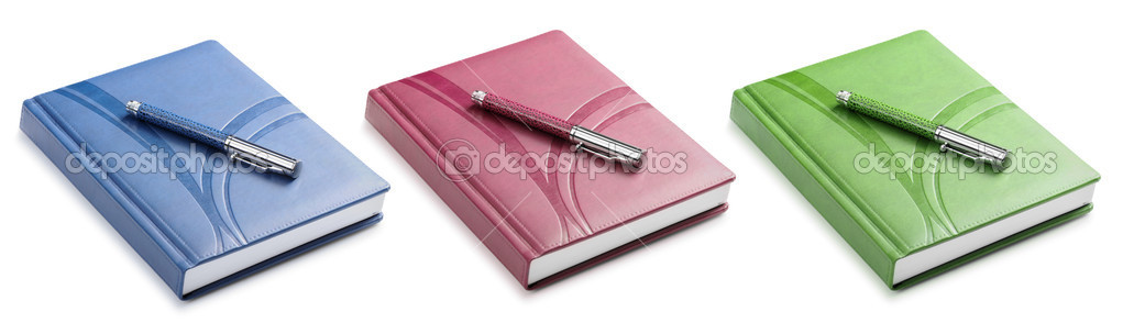 Set pen and a color notebook. A photo close up — Stock Photo #1525620