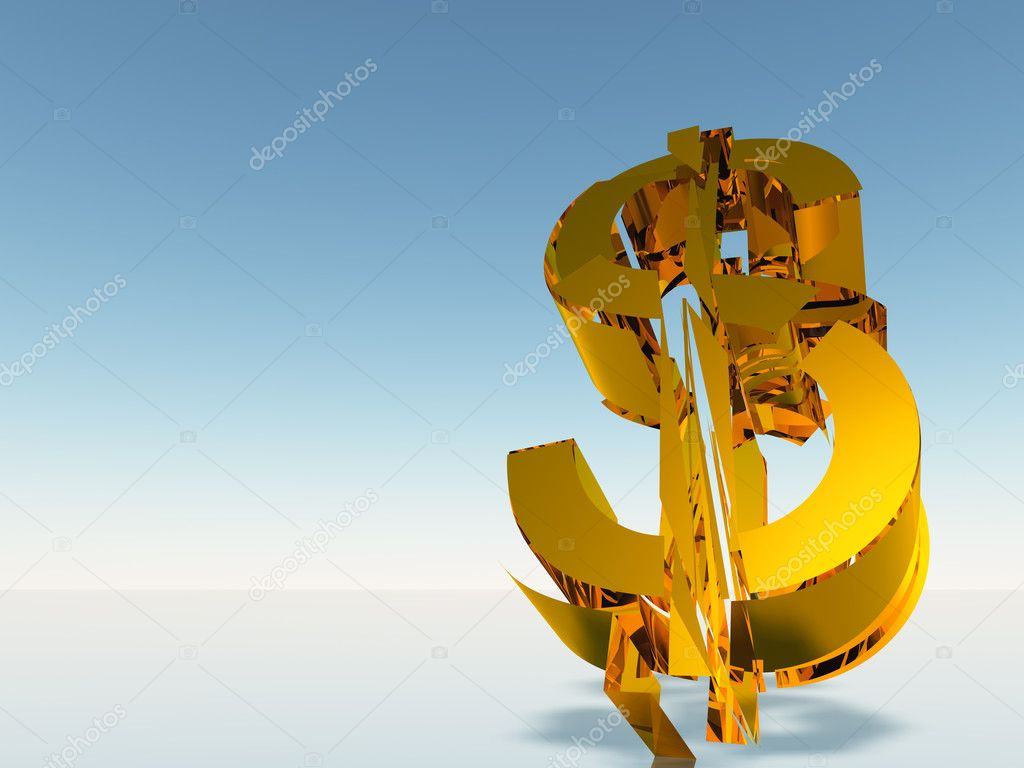 The destroyed dollar. 3d rendering on a background of a blue gradient — Stock Photo #1525922