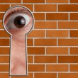 Look through a keyhole in stone wall — Stock Photo