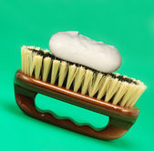 Brush for cleaning with soap — Stock Photo