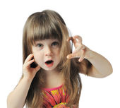 Gesticulate little girl — Stock Photo