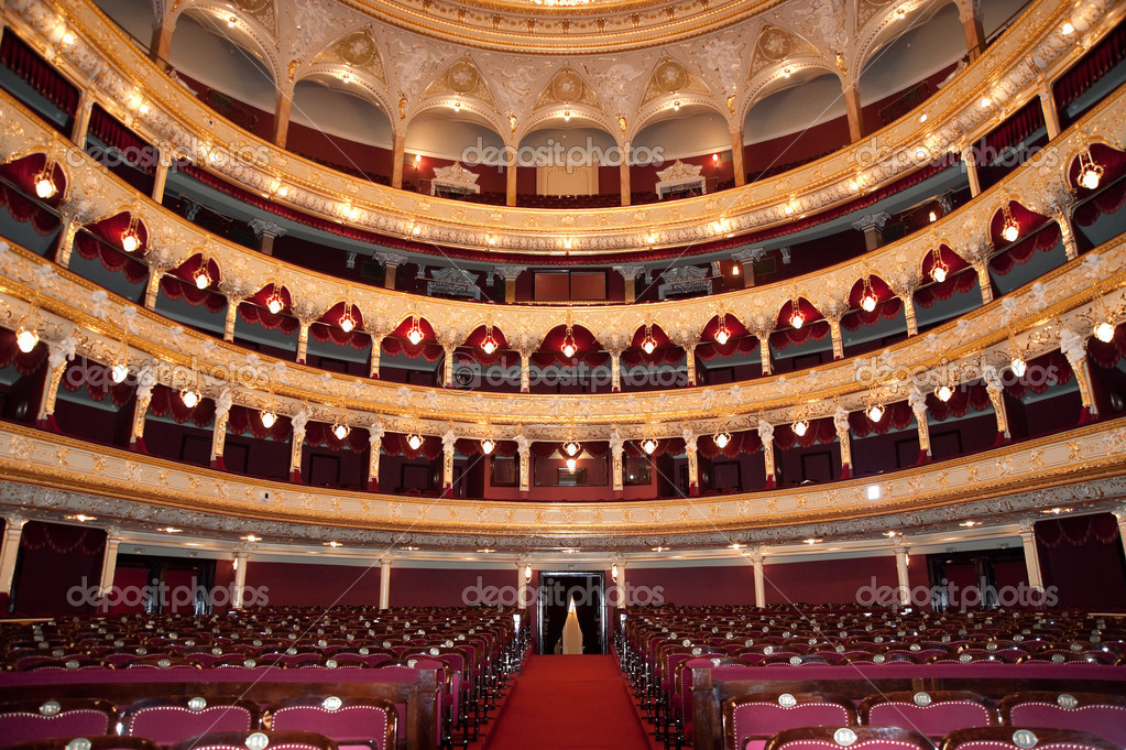 Auditorium. An interior of opera theatre. Odessa, Ukraine — Stock Photo #1532712