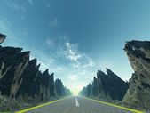 Asphalt road and mountain — Stock Photo