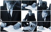 Conceptual image-grid of business photos — Stockfoto
