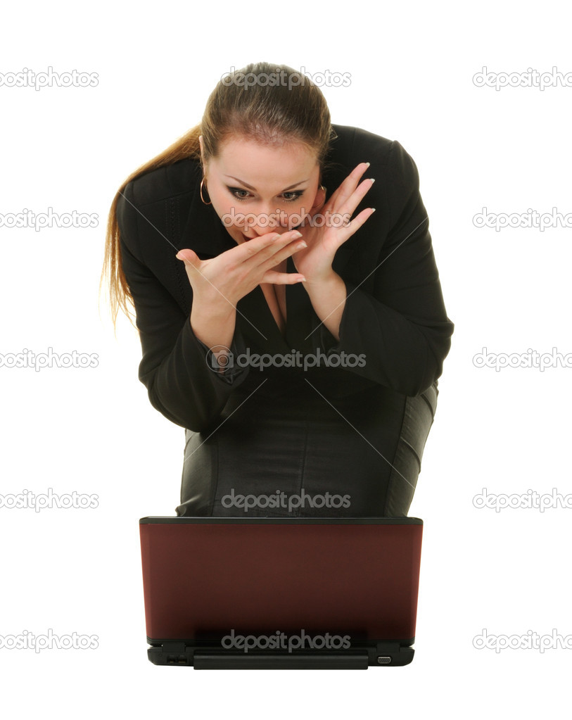 Emotional expression confusion. The women before laptop  Stock Photo #2636959