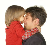 The son kisses the daddy — Stock Photo