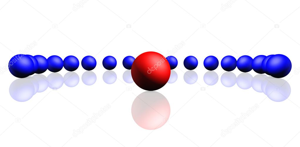 Unique red sphere with a row of dark blue spheres. Reflection, a soft shadow is isolated on a white background, — Stock Photo #2649092