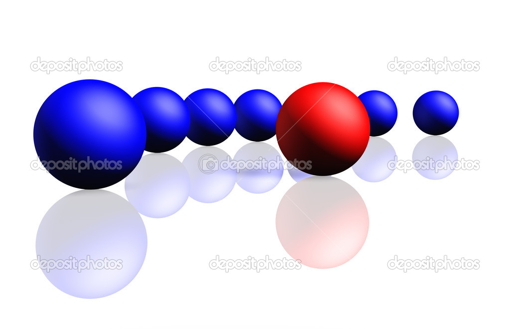 Unique red sphere with a row of dark blue spheres. Reflection, a soft shadow is isolated on a white background, — Stock Photo #2649100