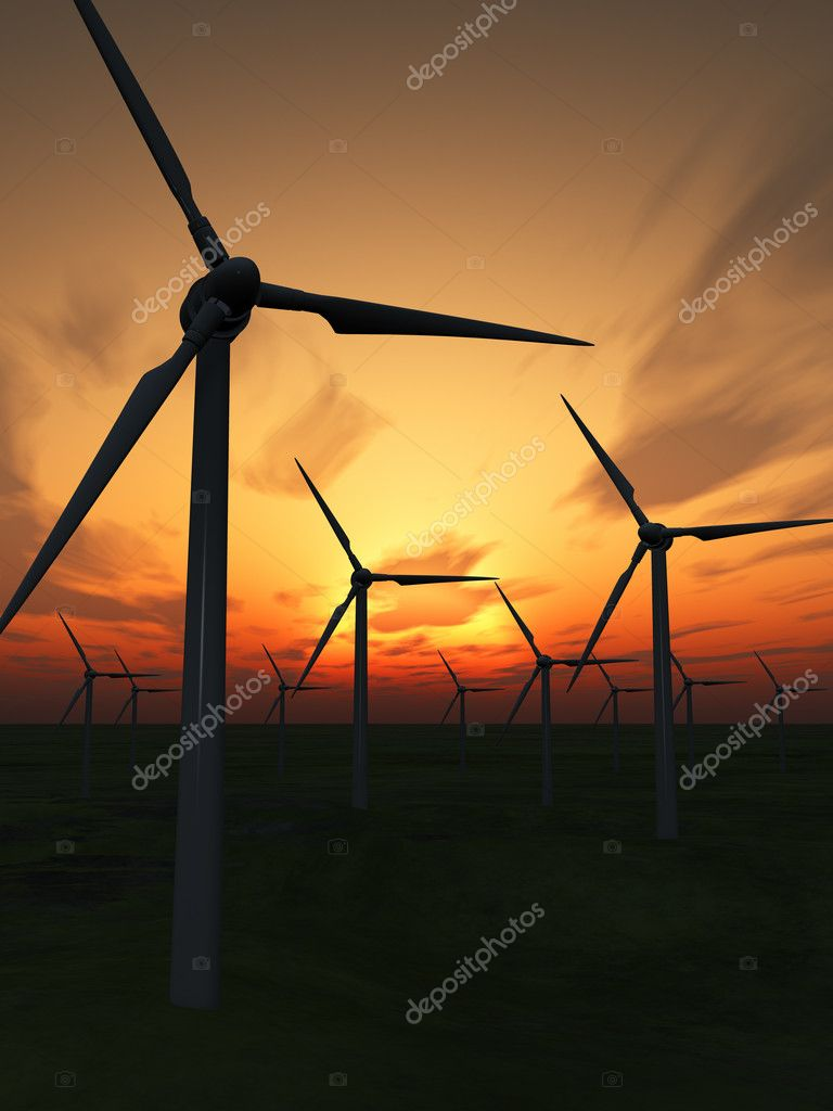 Wind power stations. On a background of the dark blue sky  Stock Photo #2649396