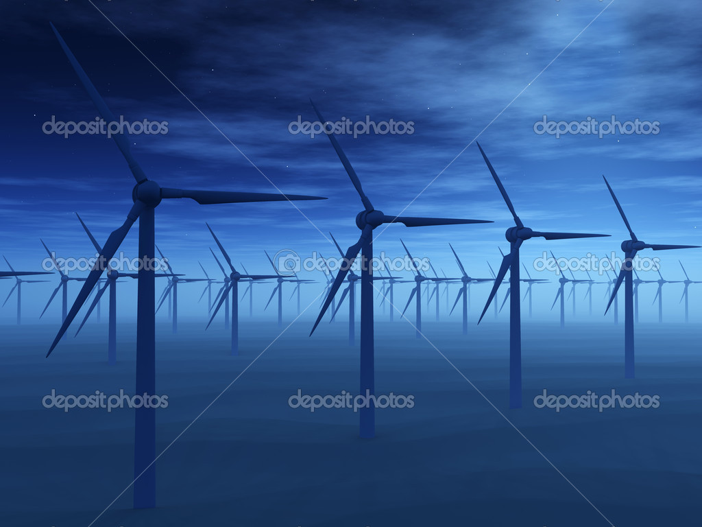 Wind power stations. On a background of the dark blue sky  Stock Photo #2649451