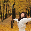 The girl in autumn leaves — Stock Photo