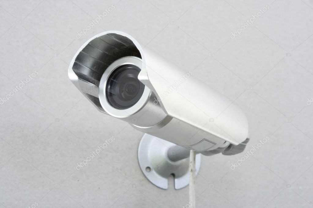 Video camera of the spying and record bolted on wall — Stok fotoğraf #1558380