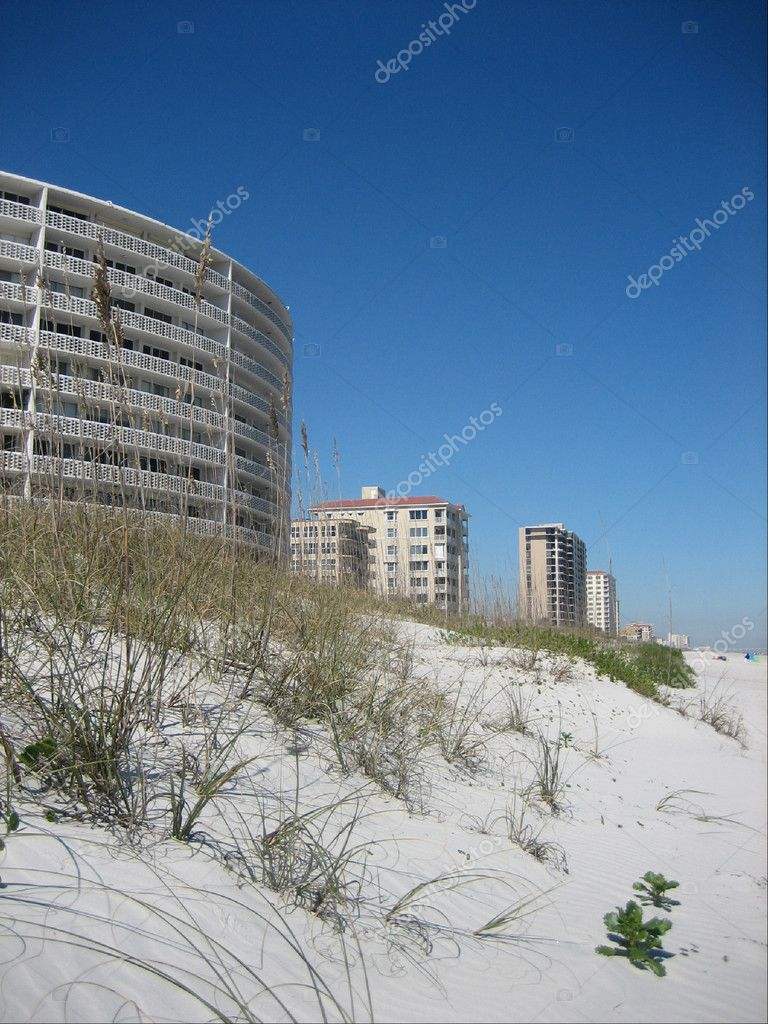 Condos along Jacksonville beach set by the dunes  Stock Photo #1540404