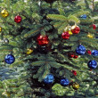 Christmas tree with glitterballs, German - Lizenzfreies Foto