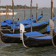 Gondola parking in Venice, Italy, Europe - Stock Photo