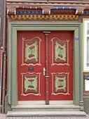 Nice red door in Duderstadt, Germany — Stock Photo