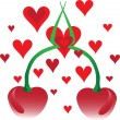 Cherries and hearts — Stock Vector