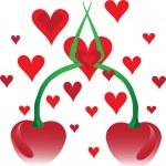 Cherries and hearts — Stock Vector