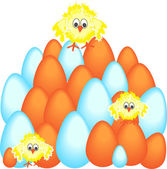 Easter eggs with chicken — Stock Vector