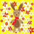 Royalty-Free Stock Vector Image: Easter bunny with flowers