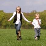 Брат и сестра веселиться вместе — Стоковое фото