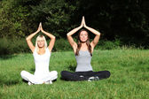 Two young women meditate in the nature — Stock Photo