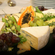 Platter with different types of cheese — Stock Photo