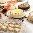 Cake buffet with various cakes — Stock Photo