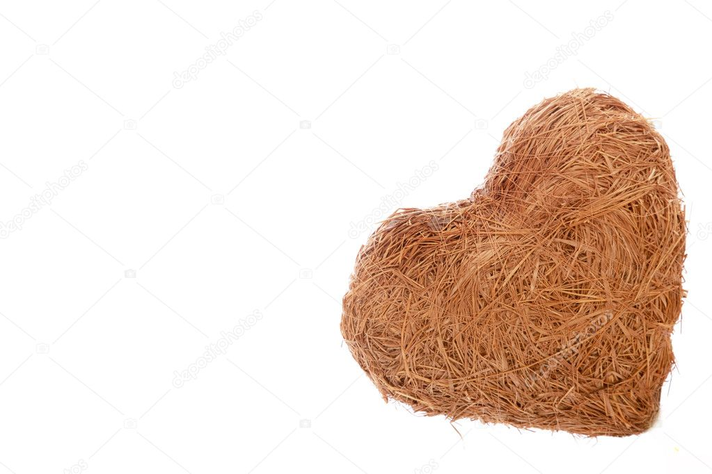 A heart made of straw on a white background — Stock Photo #2298797