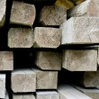 Closeup of a pile of wood with beams — Foto Stock