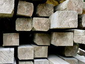 Closeup of a pile of wood with beams — Stock Photo