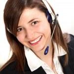 Junge Frau im Callcenter — Stock Photo