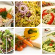 Stock Photo: Various salads - Collage