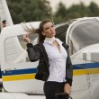 A young businesswomen at the airport — Stock Photo