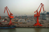 Seaport with cranes — Stock Photo