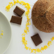 Coco with chocolate and a coconut sprink — Stock Photo