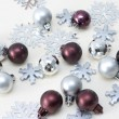 Christmas decorations, balls and snowfla — Stock Photo