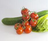 Tomatoes, cucumbers and cabbage — Stock Photo