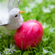 Eastern -  red egg with little bird — Stock Photo